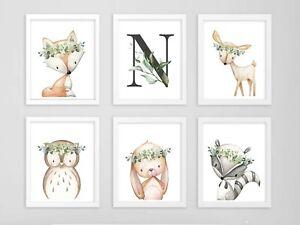 Verdor Gris Woodland Animales Personalizado Monograma Guardería Arte conjunto 6 616-A