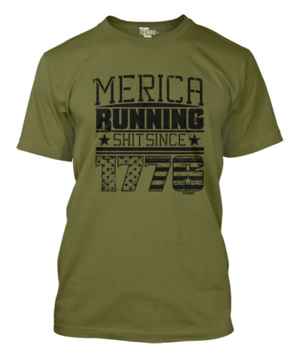 USA Pride Men/'s T-shirt Merica Running Sh*t Since 1776