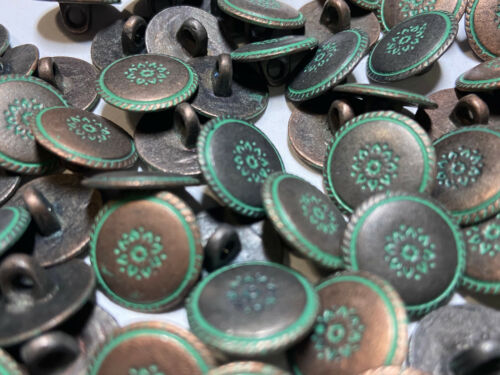 """Sweet Antique Copper//Green Patina /""""South West/"""" Metal Button 15mm 5//8/"""" shank"""