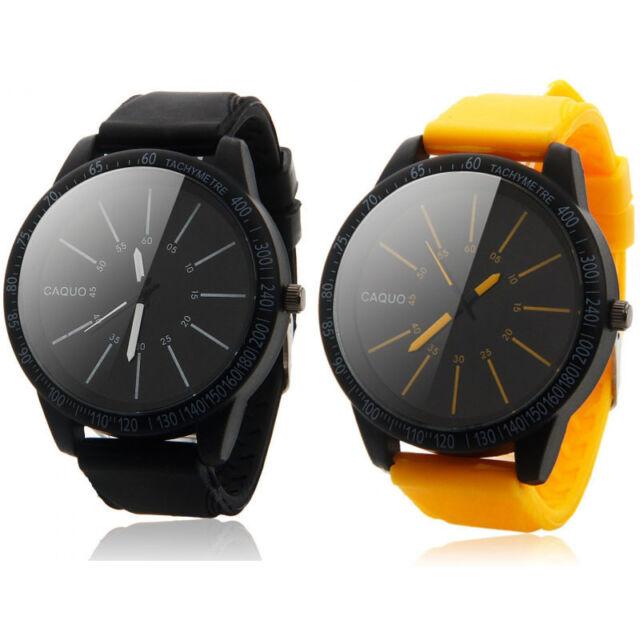 Mens Fashion Stainless Steel Luxury Sport Analog Quartz Silicone Wrist Watch