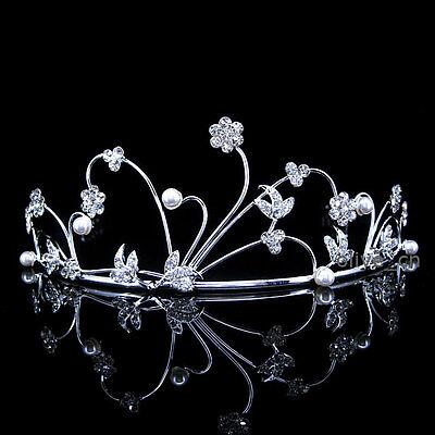 5.5cm Hoch Blume Blatt Simuliert Perle Hochzeit Braut Krone Diademe Tiara