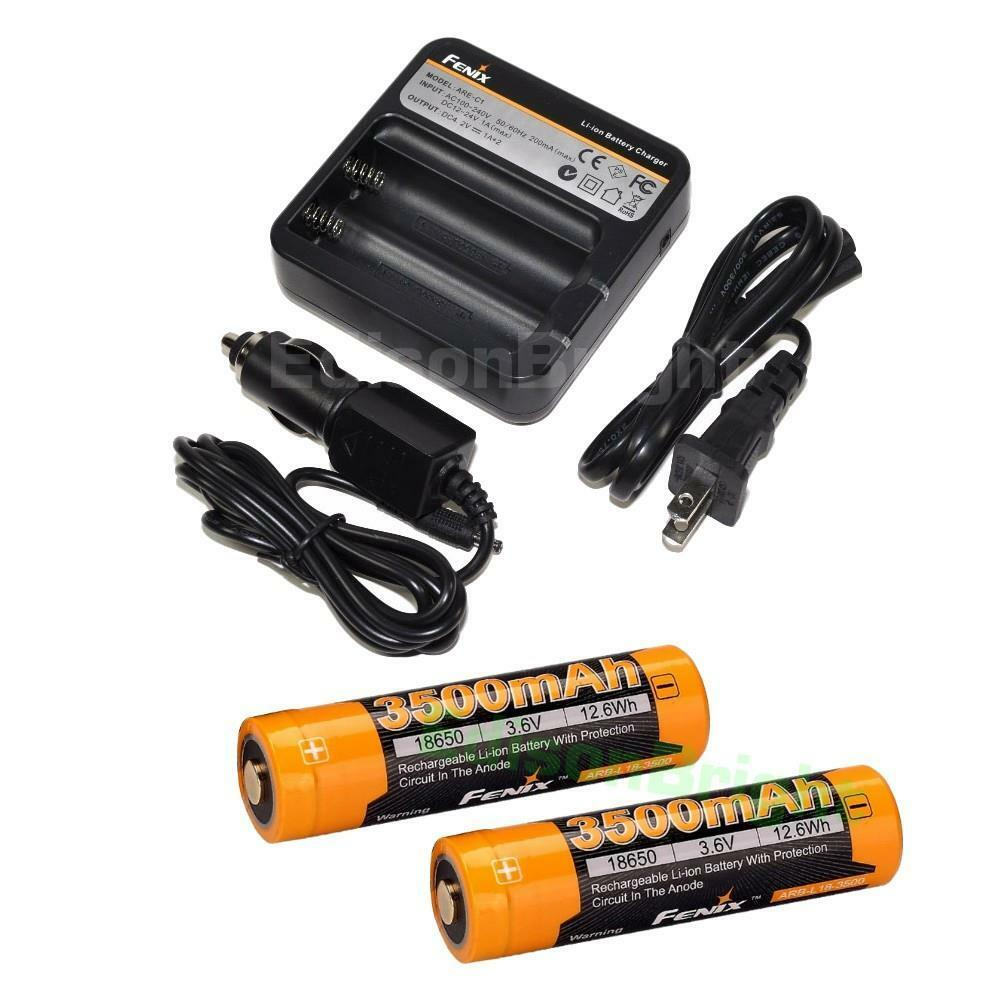 2 X Fenix ARB-L18-3500 rechargeable Li-ion 3500mAh 18650 Batteries ARE-C1 Chargr