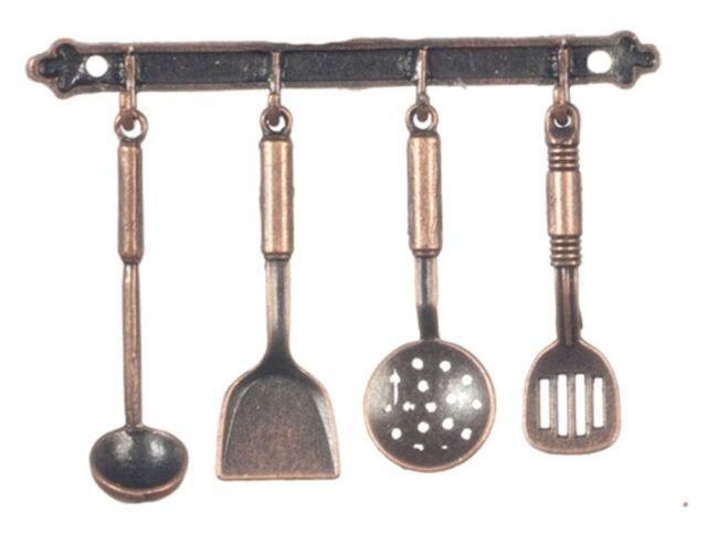 Dollhouse Miniature Kitchen Utensils and Rack, Iron #G7026