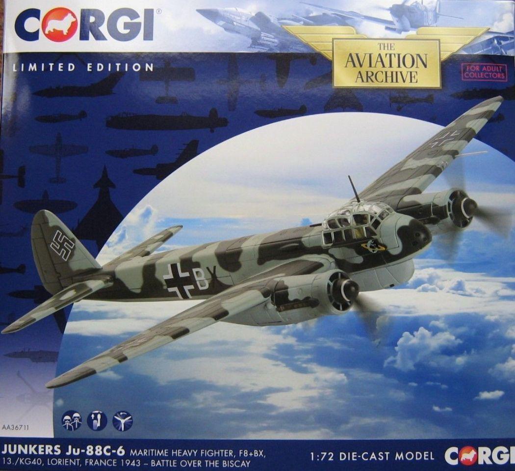 forma única Corgi AA36711 1 72 Junkers Ju-88C-6 F8+BX, 13. 13. 13. KG40, batalla sobre el Vizcaya Ju88  ofreciendo 100%