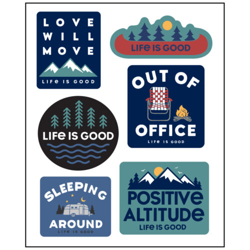 Camp Pack Life is Good Six-Pack Stickers