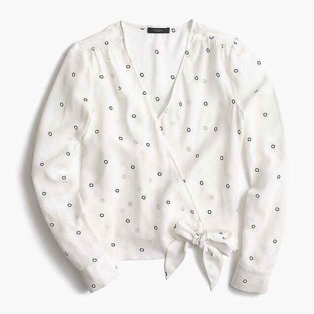 Jcrew Wimens Silk tie-front top Blouse Shirt Ivory Größe M H9729 SOLD OUT