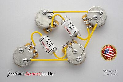 Les Paul Wiring Harness Spraque Vitamin Q PIO .022 Caps CTS 525k Pots w// 3-way
