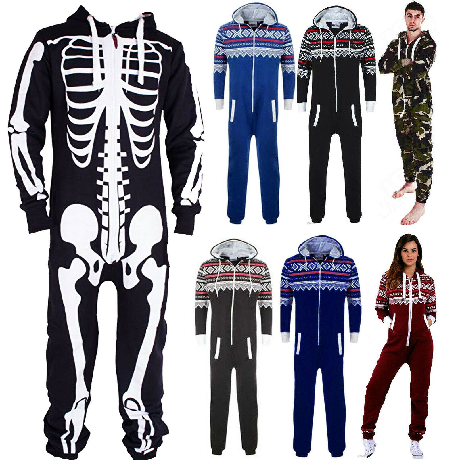 Unisex New Camouflage Aztec one piece Jumpsuit skeleton All in one Small to XXXL