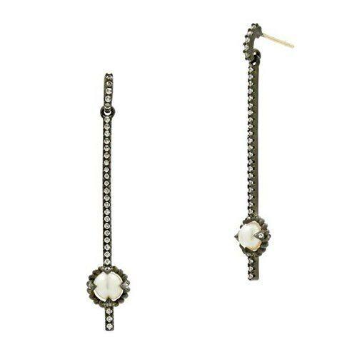 Freida redhman Industrial Finish Linear Pearl Drop Earring