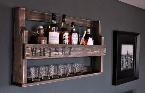 Weinregal Whiskey Regal Wein Glas Whisky Gläserhalter Flaschenregal Holz braun