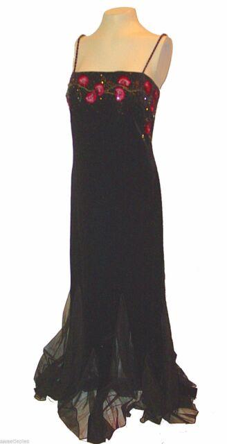 Formal Dress, Xscape Joanna Chen, Black Velvet Velour Mesh Embroidery Beaded, 8