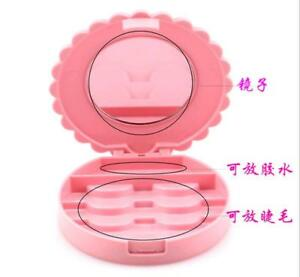 40432c8760 1Pc Plastic Cute Pink Makeup Case Mirror Bowknot False Eyelashes ...