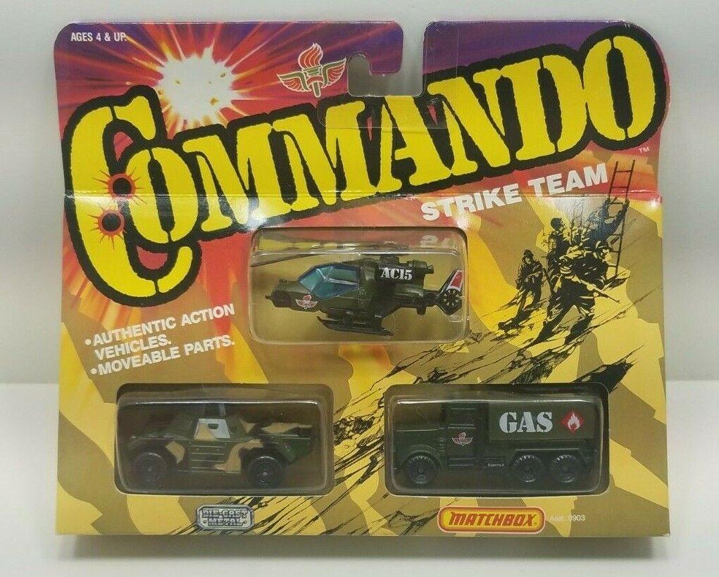 Vintage 1988 Matchbox Commando Strike Team NIP Helicopter, Tank, Gas Transporter