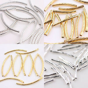 Lots-Silver-Gold-Curved-Tube-Elbow-Spacer-Beads-Connectors-For-Jewelry-Findings