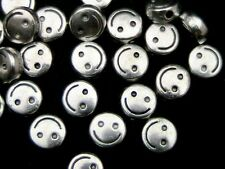 30 Pcs - 6mm Tibetan Silver Smiley Face Spacer Beads Craft Findings Beading J164