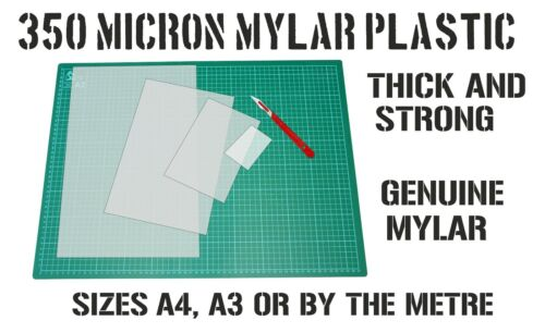 300mm wide A3 or by the metre Heavy Duty stencil Mylar sheets 350 micron A4