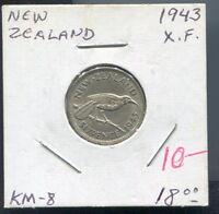 NEW ZEALAND - BEAUTIFUL GEORGE VI SILVER HUIA BIRD SIXPENCE, 1943