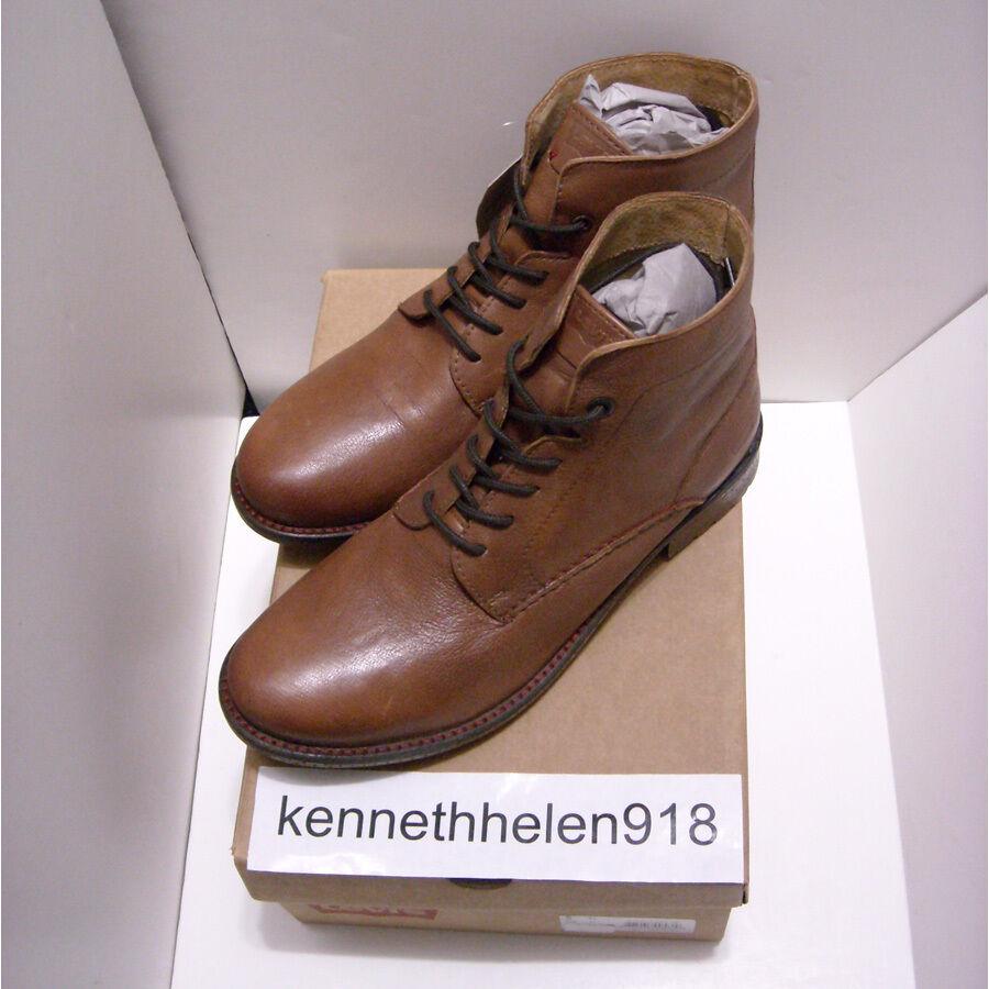 LEVIS ANKLE Pelle Marrone SHORT stivali SIZE scarpe Marrone Pelle Uomo SIZE stivali 9   c847f4