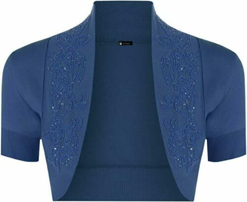 Ladies Short Sleeve Cotton Beaded Shrug Bolero Cardigan Over Dress Sizes 8-14