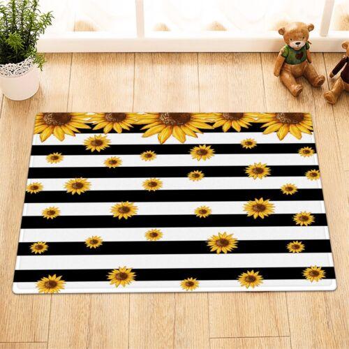 "Sunflowers Black and White Stripes Fabric Shower Curtain Set Bathroom Decor 72/"""