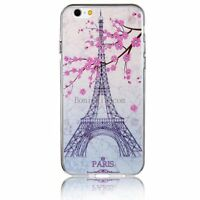 Pink Flower Paris Eiffel Tower Soft Protective Case Back Cover For Iphone 6