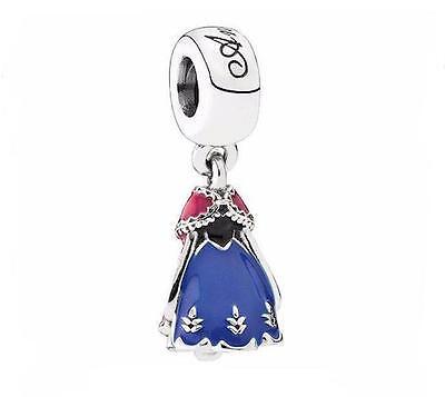 ANNA FROZEN PRINCESS DRESS 925 Sterling Silver Solid Dangle Charm Bead Bracelet