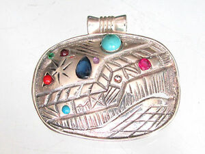 Handmade-Vintage-925-sterling-silver-pendant-with-eight-various-genuine-gems