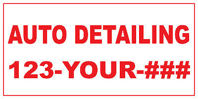Auto Detailing 123-256-87890 Custom Red Plastic Yard Sign //Free Stakes