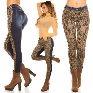 Sexy Ladies Hip Pants Jeans Tube Leopard Star Rivets Gold 32 34 36 38 40