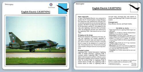 English Electric Lightning Interceptor Warplanes Collectors Club Card