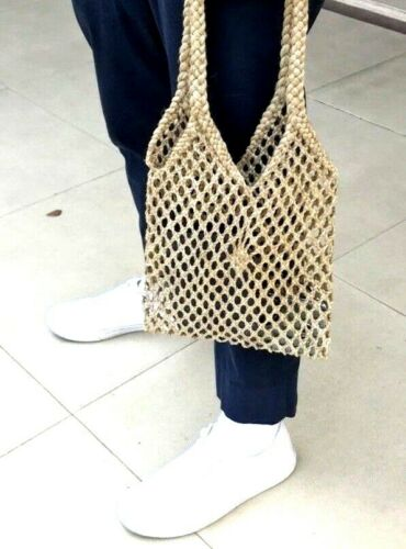Boho Hand Woven Brown Bag Tote Pouch Bladder Shoulder Bags Casual Shopping