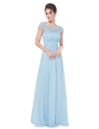UK Ever-Pretty Cap Sleeve Bridesmaid Dress Long Lace Backless Evening Dress 9993