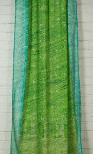 "84/"" Light Green Turquoise SARI Curtain Window Curtain,Bohemian printed glitter"