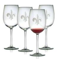 Wine Glasses Fleur De Lis Design Set Of 4 Hand Etched