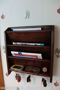 image is loading mail letter rack handcrafted wood organizer key holder