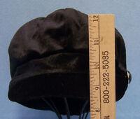 Ladies Women Cabbie Newsboy Black Hat Cap W/ Brim Rhinestone Button August