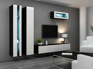 Détails sur Mur de Médias Rangement Mural 4 Pièces - Sentic 2 - Noir/Blanc  Haute Brillance