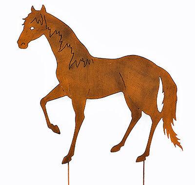 922037 NEU Gartendeko Gartenfigur Gartenstecker Beetstecker Pferd braun Metall