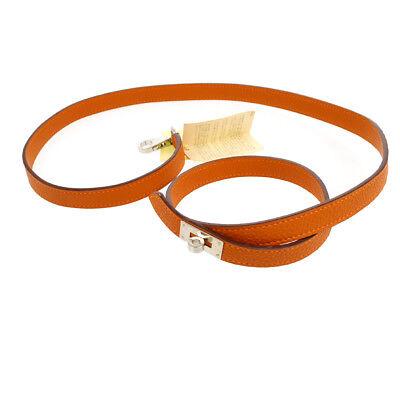 Authentic HERMES Vintage Kelly Motif Dog Lead Orange Togo France AK25578k