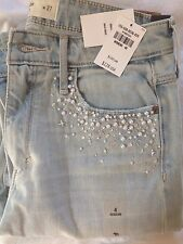 Abercrombie & Fitch $128 High Rise Super Skinny Embellished Denim Jeans 4 Pearls