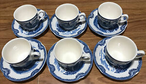 Johnson-Brothers-Old-Britain-Castles-Blue-Made-in-England-Cup-amp-Saucer-Set-of-12