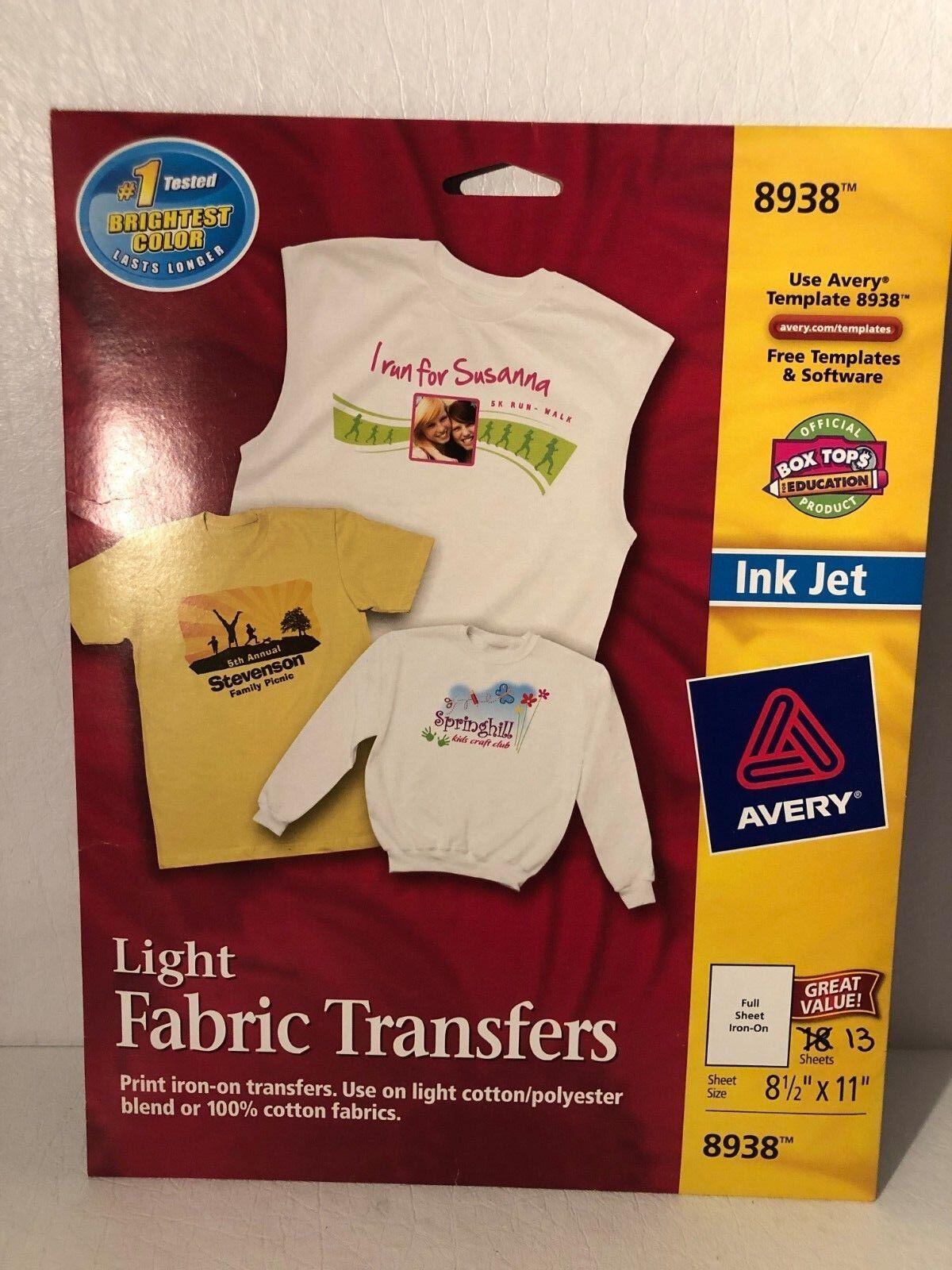 Avery Dennison 08938 Ave8938 Light Fabric Transfers For Inkjet Ebay