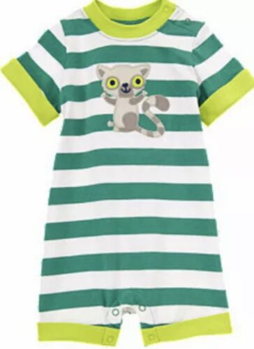 "NWT 6-12 Gymboree ""LEMUR LAGOON"" 1-piece ROMPER short sleeves STRIPED cotton Grn"
