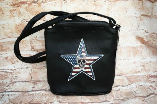 Handtasche Henkeltasche Skull Bag Stern schwarz Amerika Shopper Tasche Neu USA