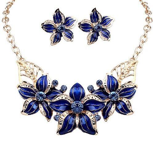 azul o púrpura Declaración Collar Collar De Hoja Flor /& /& Pendientes Set