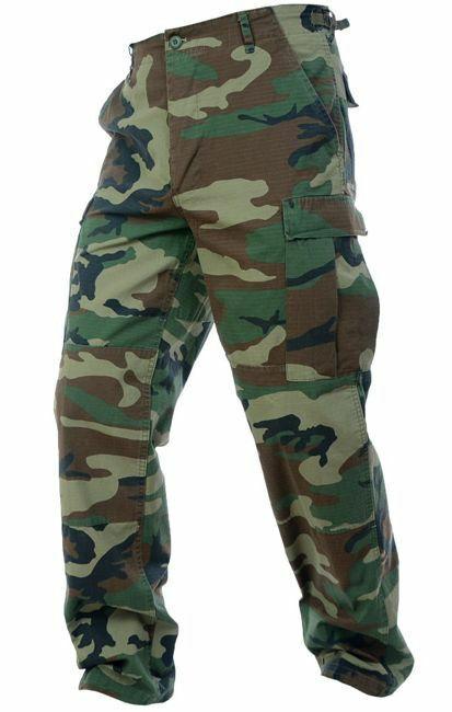 Mil-Tec Mens RIPSTOP Army Combat BDU CARGO PANTS Field Trousers Woodland Camo