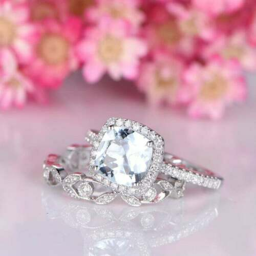 Details about  /1.30 Ct Cushion Cut Aquamarine Accented Engagement Ring Set 14K White Gold Over