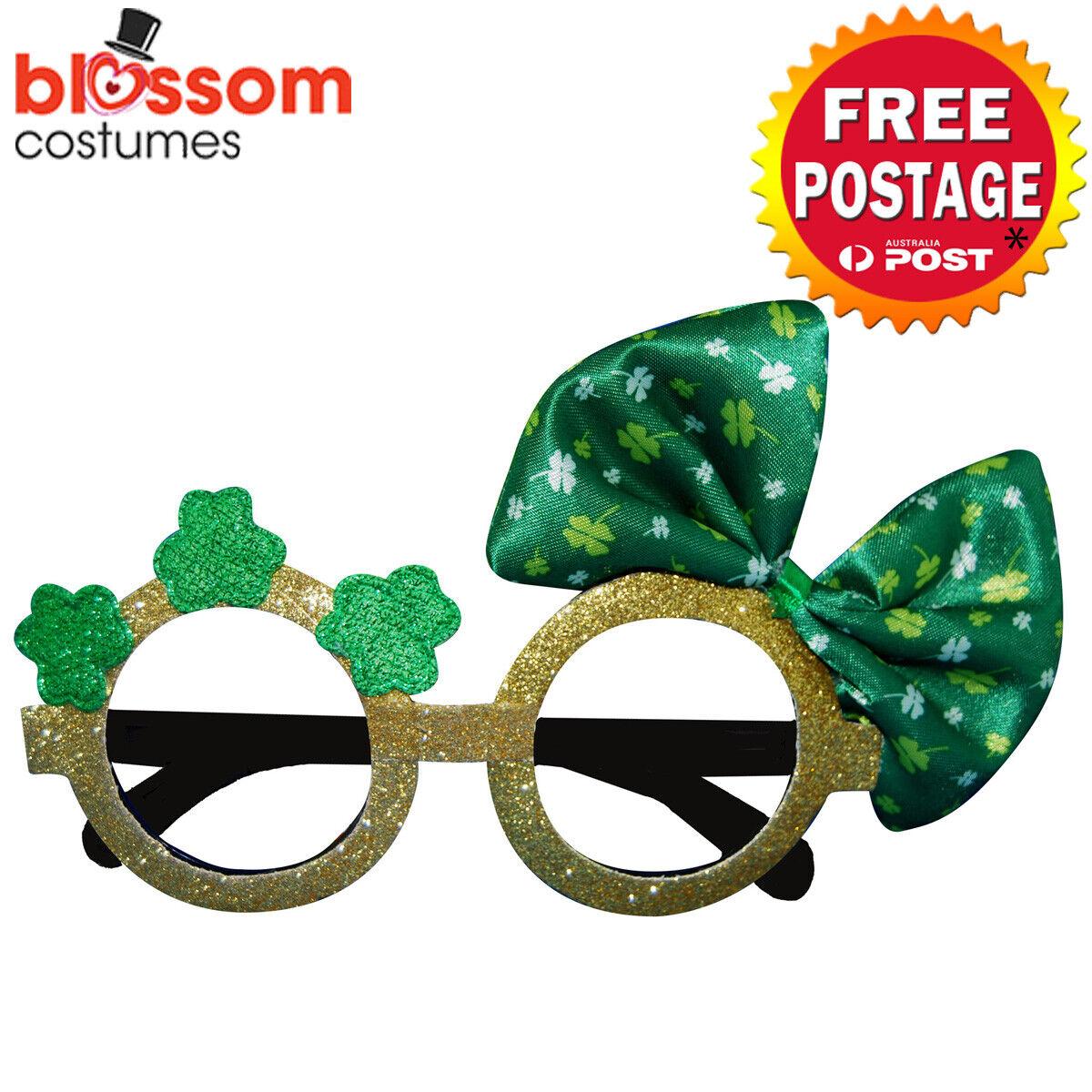 AS255 St Patricks Day Irish Shamrock Bow Glittering Green Glasses Sunglasses