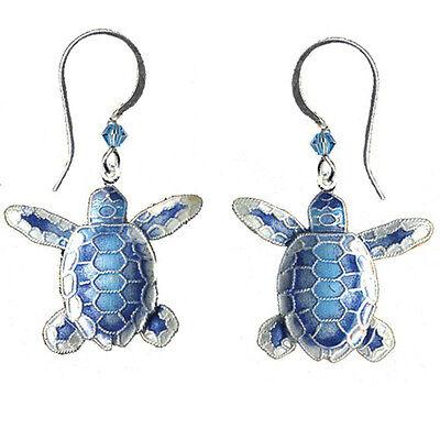 Bamboo-Jewelry-BLUE-Flatback-Hatchling-TURTLE-Earrings-Cloisonne-STERLING