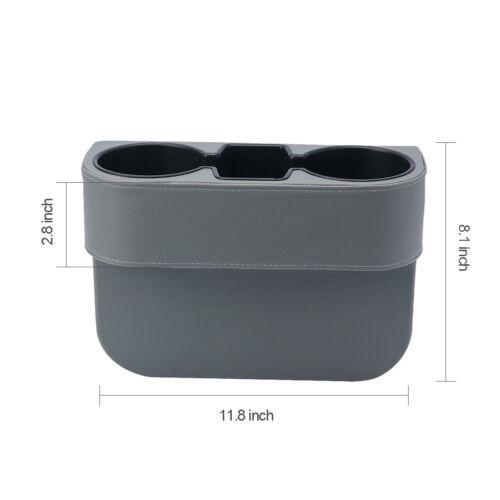 Universal Car Seat Organizer Storage Leather Cup Drink Phone Holder Pocket Grey
